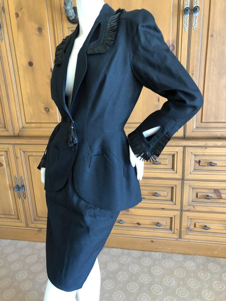 Thierry Mugler Vintage 1980's Black Suit with Raffia Fringe Tassel and Trim  For Sale 2