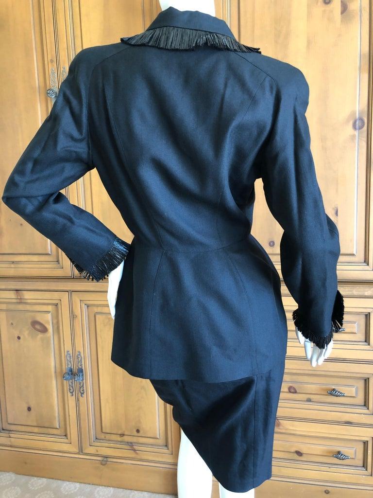 Thierry Mugler Vintage 1980's Black Suit with Raffia Fringe Tassel and Trim  For Sale 3