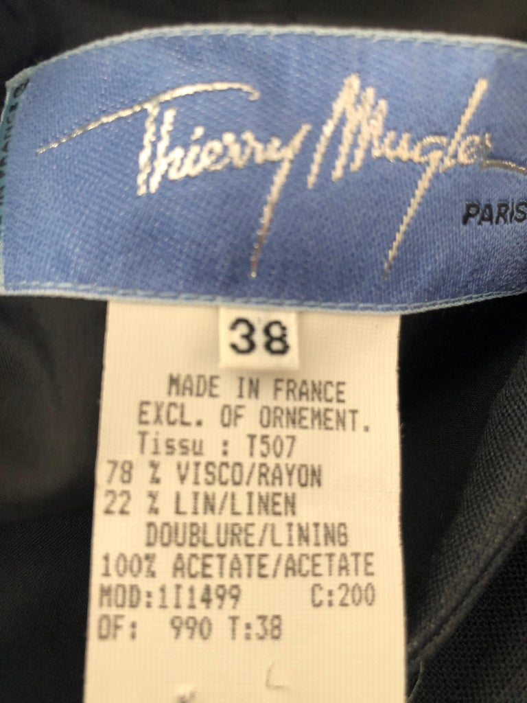 Thierry Mugler Vintage 1980's Black Suit with Raffia Fringe Tassel and Trim  For Sale 4