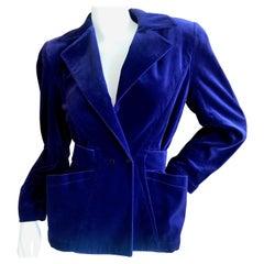 Thierry Mugler Vintage 1980's Blue Velvet Jacket with Back Belt