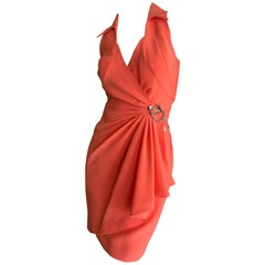 d555263211b0 Thierry Mugler Vintage 1980's Coral Wrap Dress w Nautical Anchor Detail