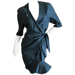 Thierry Mugler Vintage 1980's Dupioni Silk Little Black Dress