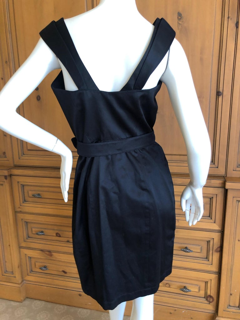 Thierry Mugler Vintage 1980's Little Black Dress with Mod Belt Cotton Snaps closed inside Classic Mugler Marked size 40  please check measurements Bust 36
