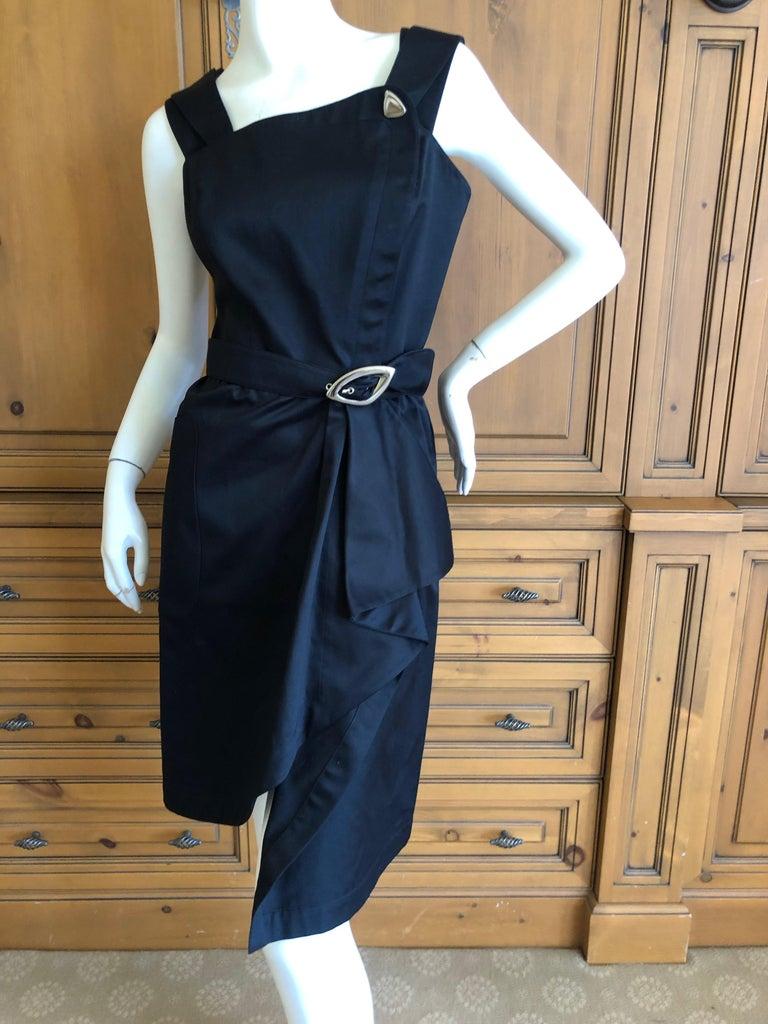 Women's Thierry Mugler Vintage 1980's Little Black Dress with Mod Belt For Sale