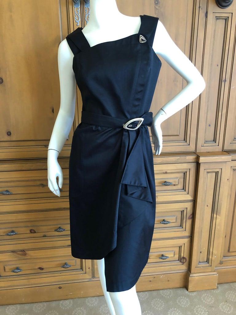 Thierry Mugler Vintage 1980's Little Black Dress with Mod Belt For Sale 3