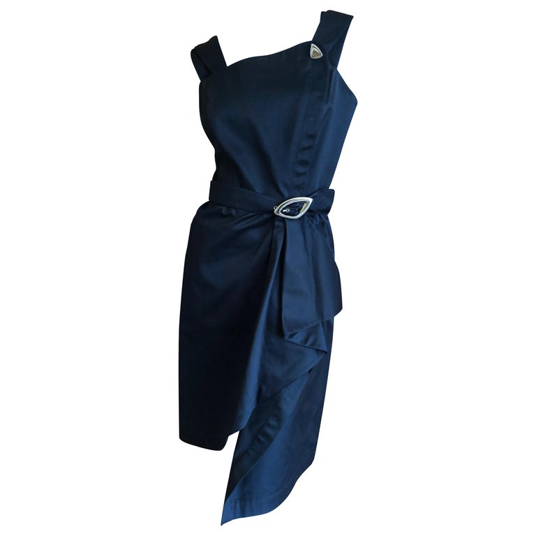 Thierry Mugler Vintage 1980's Little Black Dress with Mod Belt For Sale