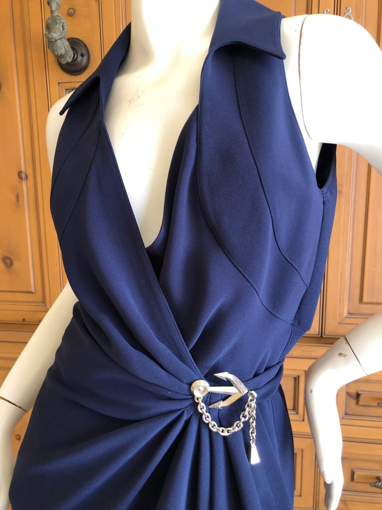 Black Thierry Mugler Vintage 1980's Navy Blue Wrap Dress w Nautical Anchor Detail For Sale