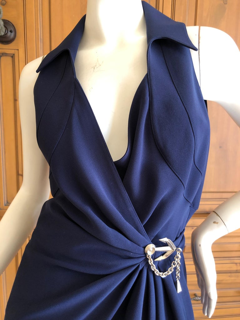 Thierry Mugler Vintage 1980's Navy Blue Wrap Dress w Nautical Anchor Detail In Excellent Condition For Sale In San Francisco, CA