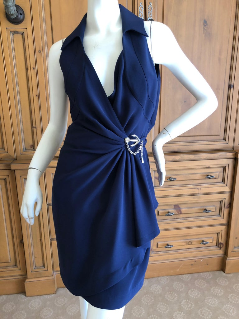 Women's Thierry Mugler Vintage 1980's Navy Blue Wrap Dress w Nautical Anchor Detail For Sale