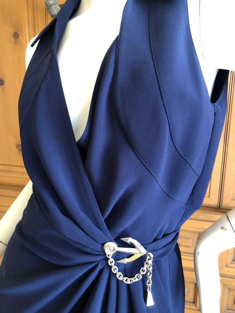 Thierry Mugler Vintage 1980's Navy Blue Wrap Dress w Nautical Anchor Detail For Sale 1