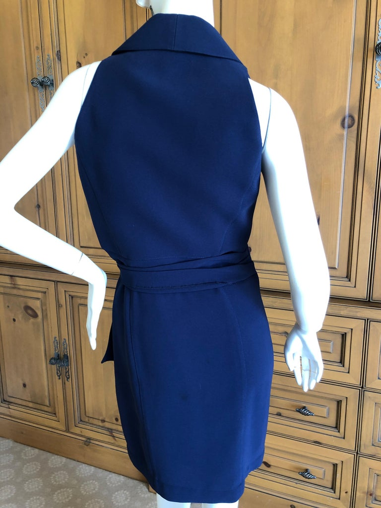 Thierry Mugler Vintage 1980's Navy Blue Wrap Dress w Nautical Anchor Detail For Sale 2
