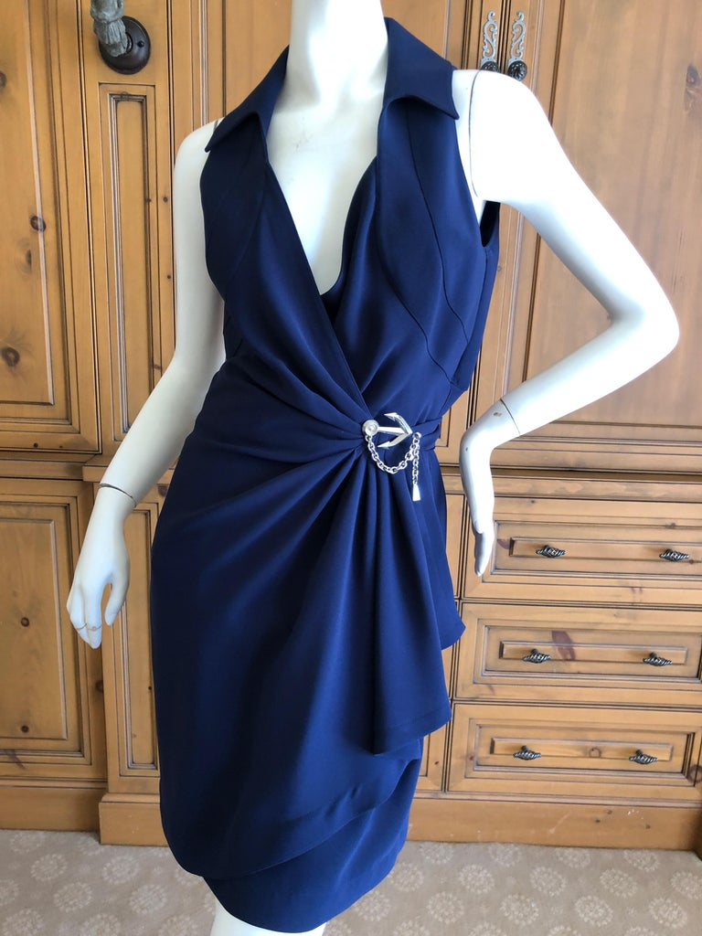 Thierry Mugler Vintage 1980's Navy Blue Wrap Dress w Nautical Anchor Detail For Sale 3