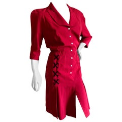 Thierry Mugler Vintage 1980's Red Cotton Dress with Corset Lace Up Details
