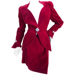 Thierry Mugler Vintage 1980's Red Velvet Suit with Signature Jeweled Accents