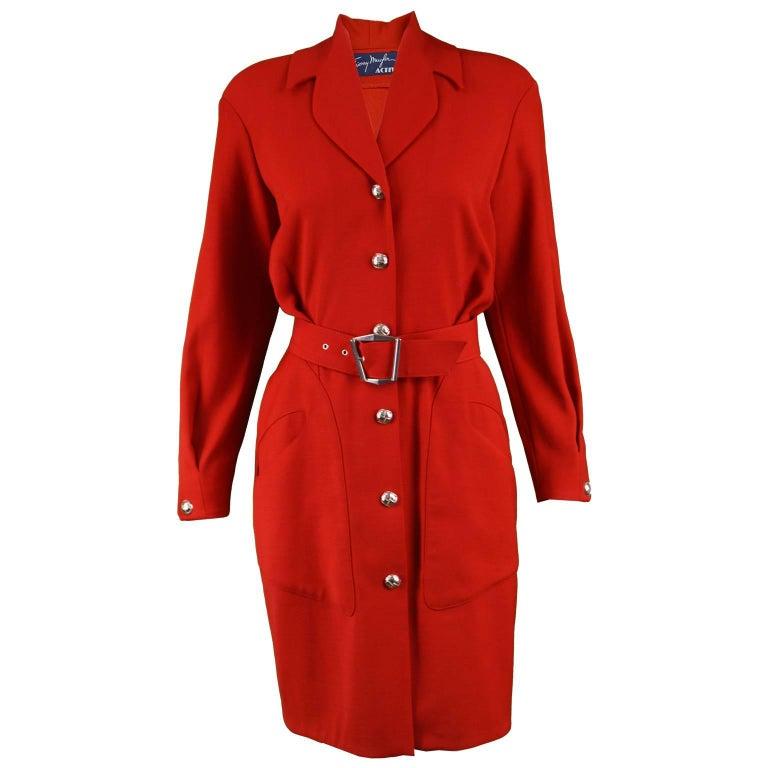 Thierry Mugler Vintage 1980s Red Wool Long Sleeve Blouson Fit Shirt Dress
