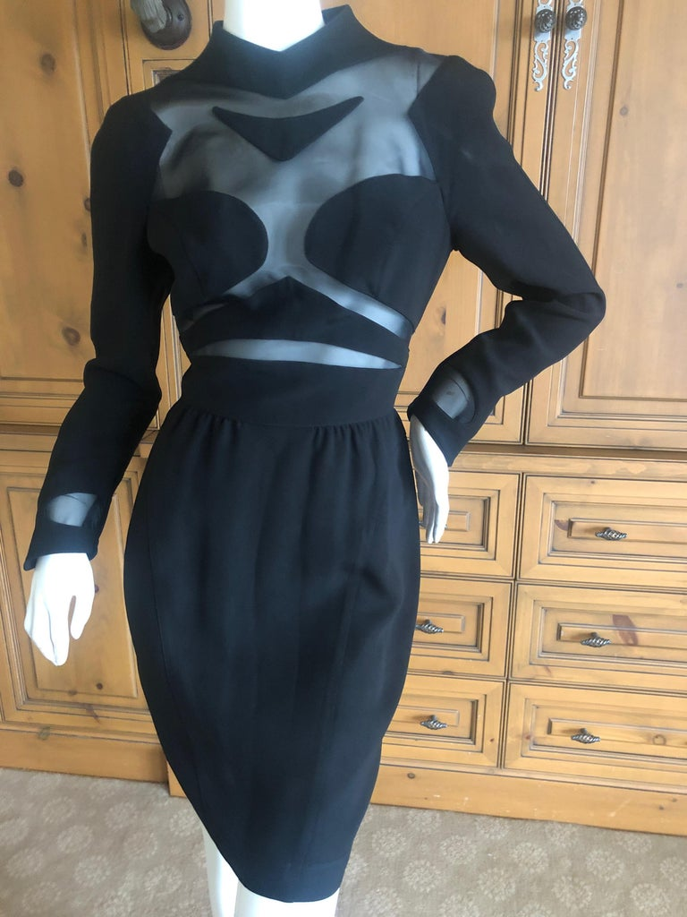 Black Thierry Mugler Vintage 1980's Sexy Sheer Cut Out Dress Museum Exhibition Piece For Sale