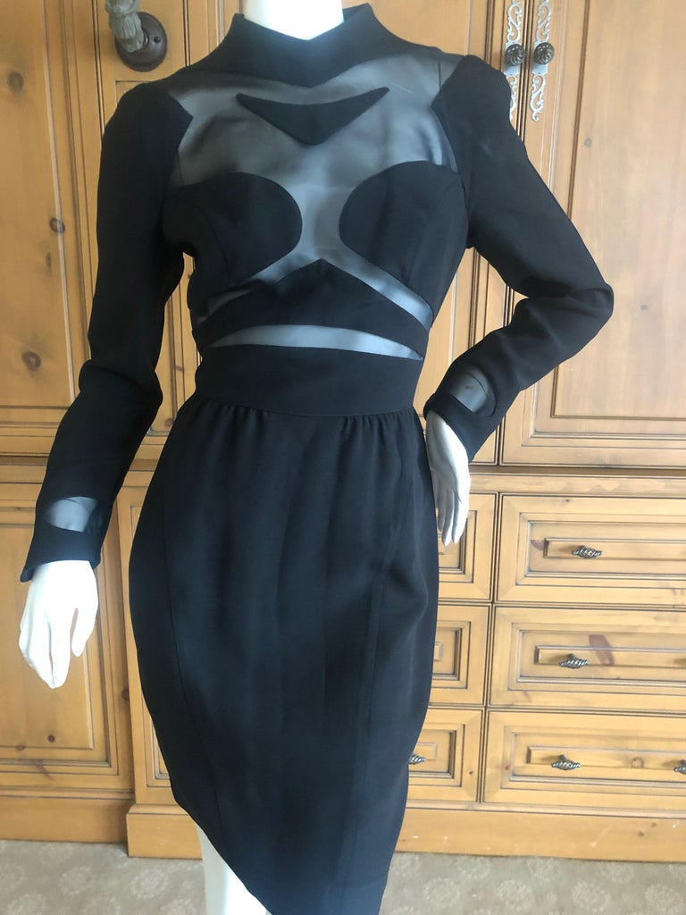 Thierry Mugler Vintage 1980's Sexy Sheer Cut Out Dress Museum Exhibition Piece In Good Condition For Sale In San Francisco, CA