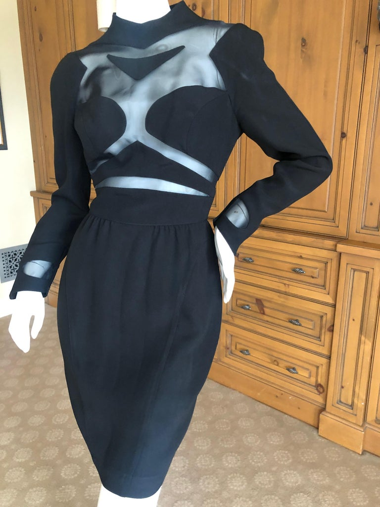 Thierry Mugler Vintage 1980's Sexy Sheer Cut Out Dress Museum Exhibition Piece For Sale 1