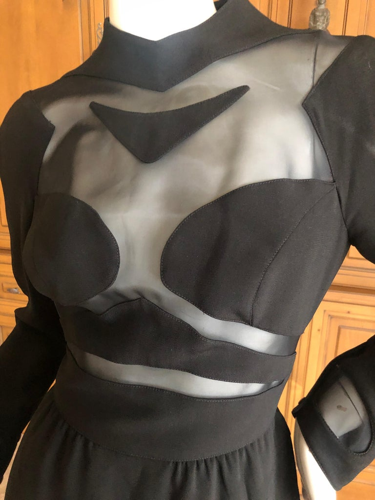 Thierry Mugler Vintage 1980's Sexy Sheer Cut Out Dress Museum Exhibition Piece For Sale 2