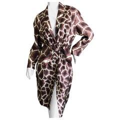 Thierry Mugler Vintage 1980's Silk Scarf Twill Giraffe Pattern Dress
