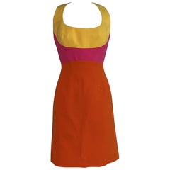 ed267d35c0ee Thierry Mugler Vintage 1990s Pink Yellow Orange Color Block Harness Back  Dress
