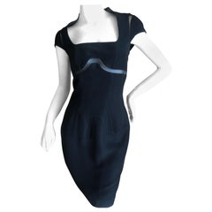 Thierry Mugler Vintage 80's Chic Black Cocktail Dress with Sheer Inserts