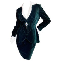 Thierry Mugler Vintage 80's Jeweled Green Velvet Suit w Detachable Lapel & Cuffs
