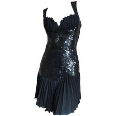 d4d0c82c777e Thierry Mugler Vintage 80's Sequin Little Black Mini Dress w Pleated Shell  Bust