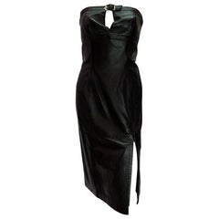 Thierry Mugler Vintage Black Leather Buckle Dress