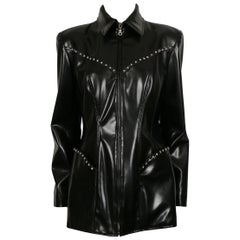 Thierry Mugler Vintage Black Rubber Stars Jacket