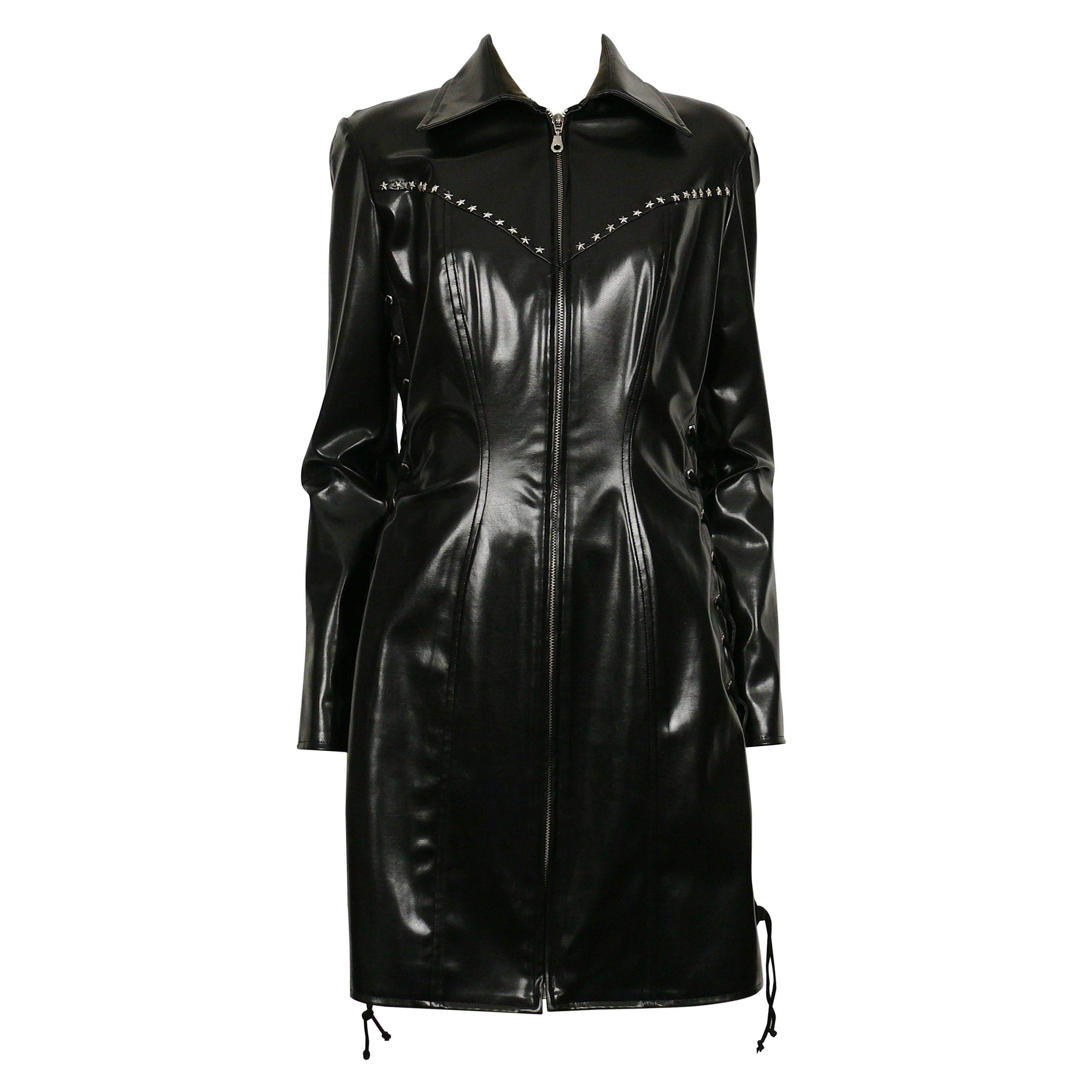 Thierry Mugler Vintage Black Rubber Stars Lace-Up Dress