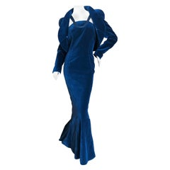 Thierry Mugler Vintage Blue Velvet Mermaid Dress Matching Bolero Unworn w Tags
