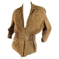 Thierry Mugler Vintage Brown Suede Jacket, 1980s