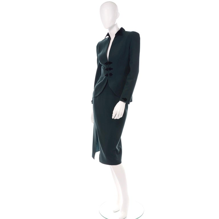 Black Thierry Mugler Vintage Forest Green Wool and Velvet Skirt and Blazer Jacket Suit For Sale