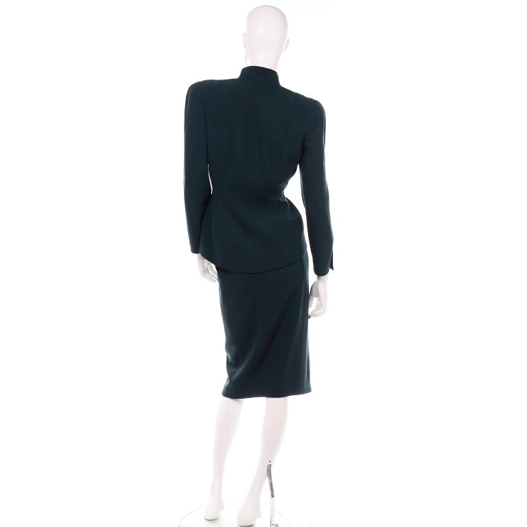 Thierry Mugler Vintage Forest Green Wool and Velvet Skirt and Blazer Jacket Suit In Excellent Condition For Sale In Portland, OR
