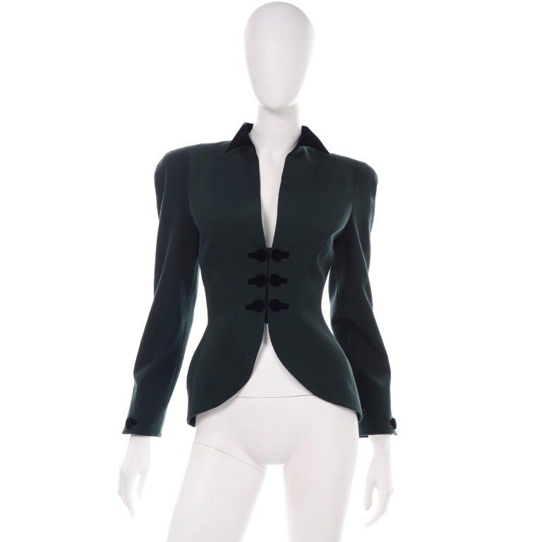 Thierry Mugler Vintage Forest Green Wool and Velvet Skirt and Blazer Jacket Suit For Sale 1