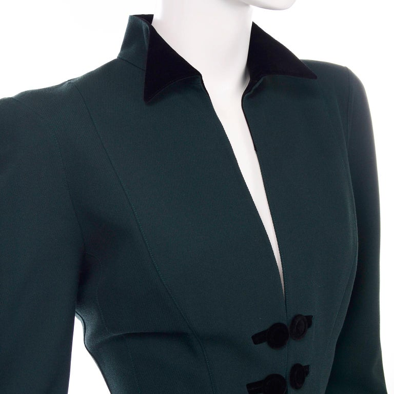 Thierry Mugler Vintage Forest Green Wool and Velvet Skirt and Blazer Jacket Suit For Sale 2
