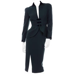 Thierry Mugler Vintage Forest Green Wool and Velvet Skirt and Blazer Jacket Suit