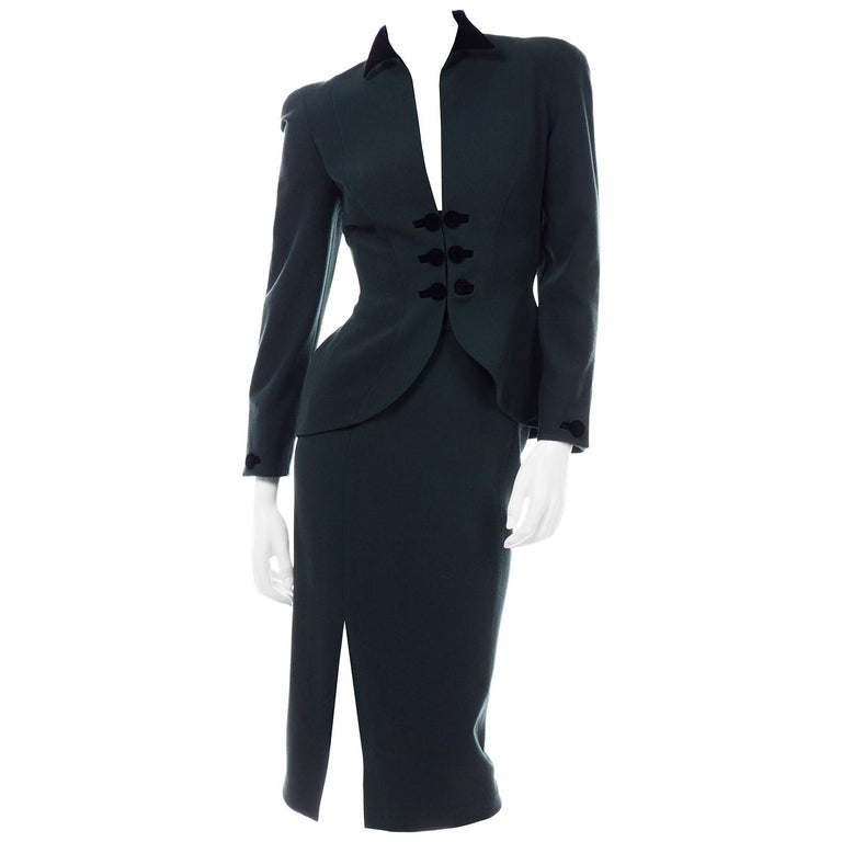 Thierry Mugler Vintage Forest Green Wool and Velvet Skirt and Blazer Jacket Suit For Sale