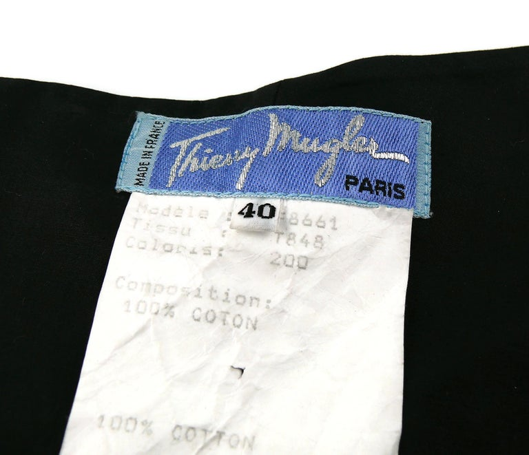 Thierry Mugler Vintage Iconic Black Coated Cotton Halter Bustier Corset For Sale 7