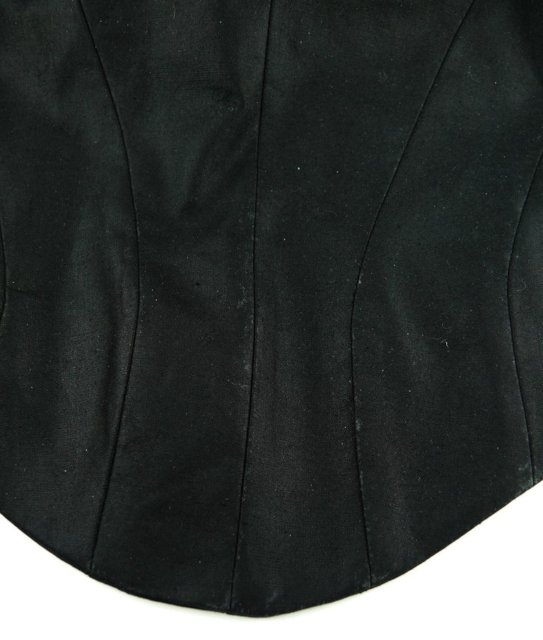 Thierry Mugler Vintage Iconic Black Coated Cotton Halter Bustier Corset For Sale 14