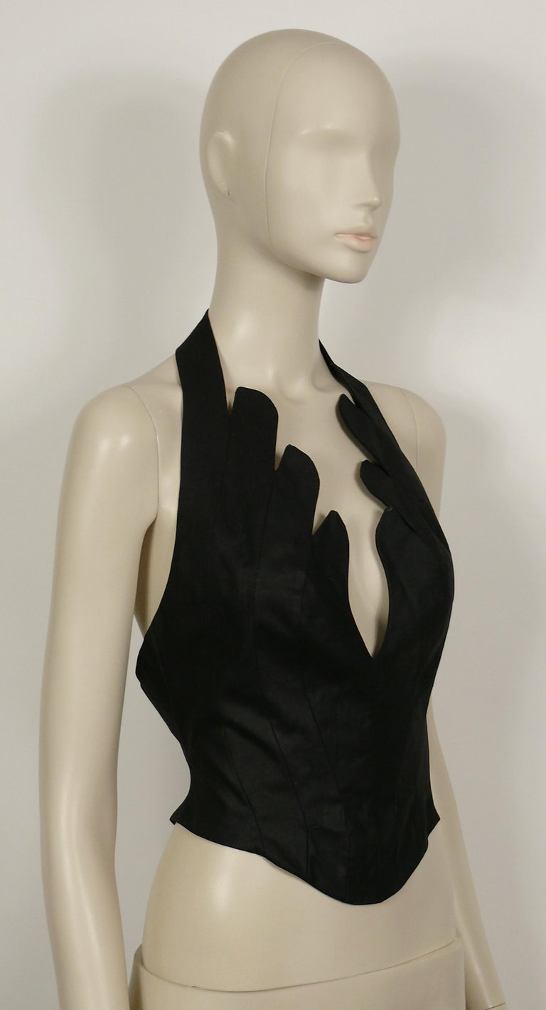 Thierry Mugler Vintage Iconic Black Coated Cotton Halter Bustier Corset In Good Condition For Sale In Nice, FR