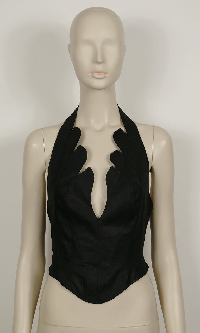 Thierry Mugler Vintage Iconic Black Coated Cotton Halter Bustier Corset For Sale 1