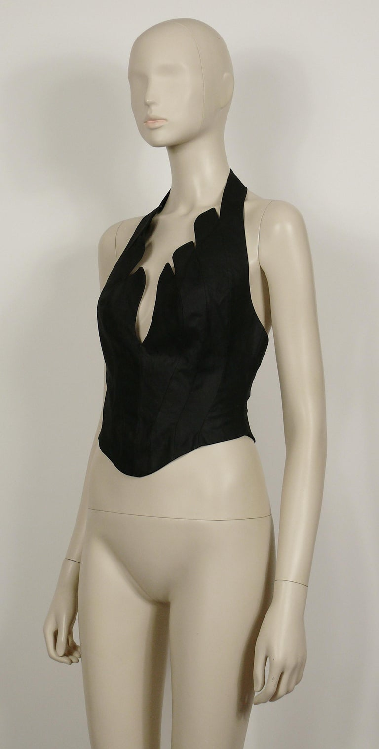 Thierry Mugler Vintage Iconic Black Coated Cotton Halter Bustier Corset For Sale 2
