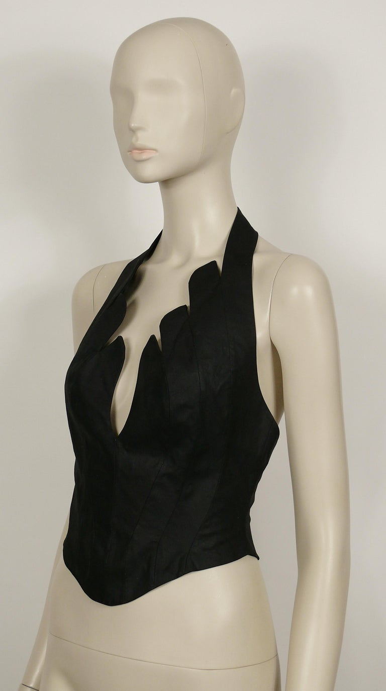Thierry Mugler Vintage Iconic Black Coated Cotton Halter Bustier Corset For Sale 3