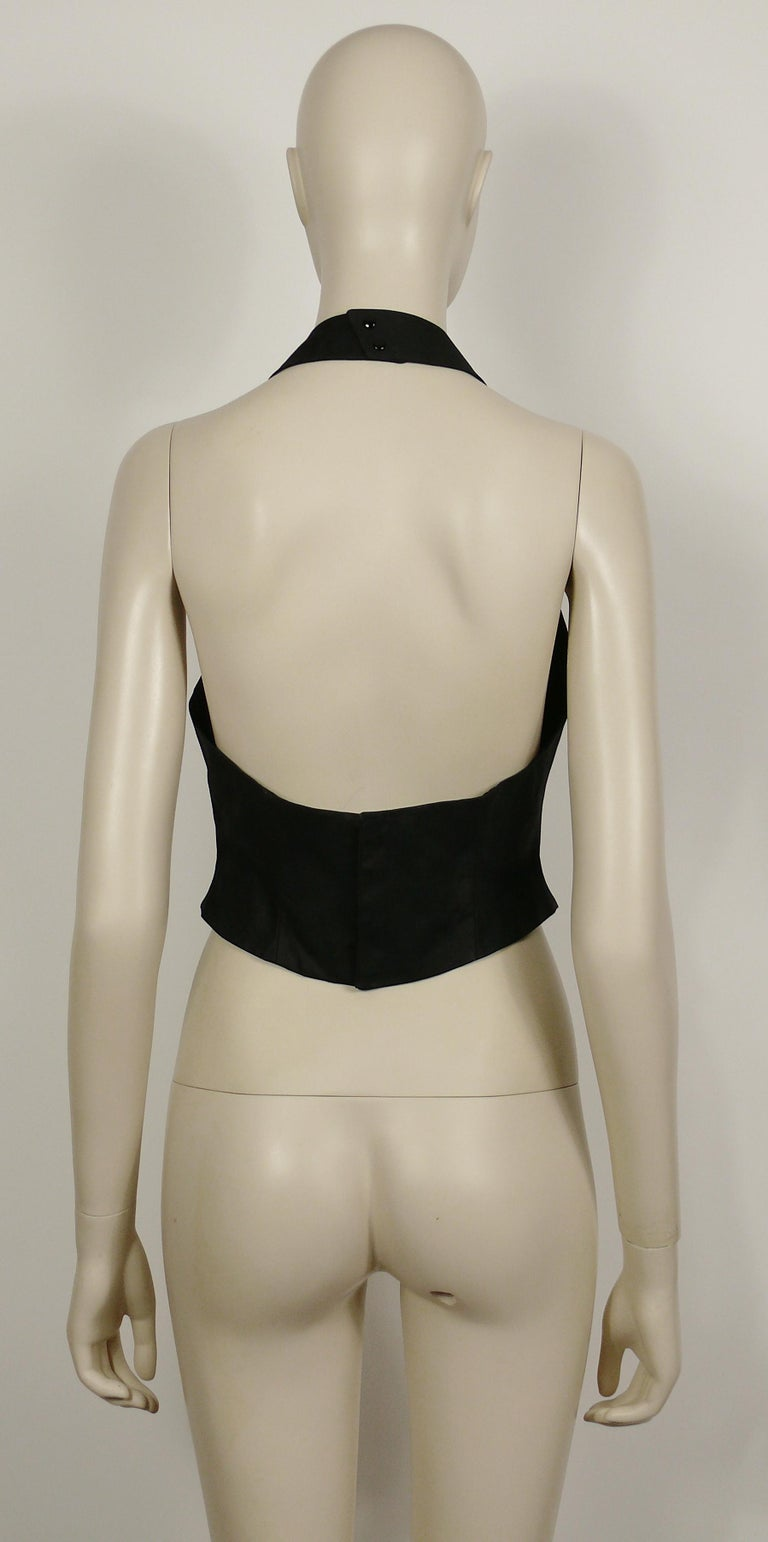 Thierry Mugler Vintage Iconic Black Coated Cotton Halter Bustier Corset For Sale 4