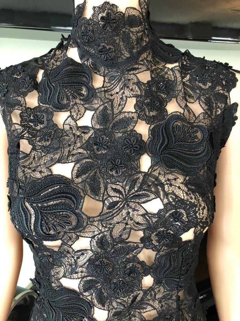 Women's Thierry Mugler Vintage Lace Mock Neck Black Blouse Top For Sale