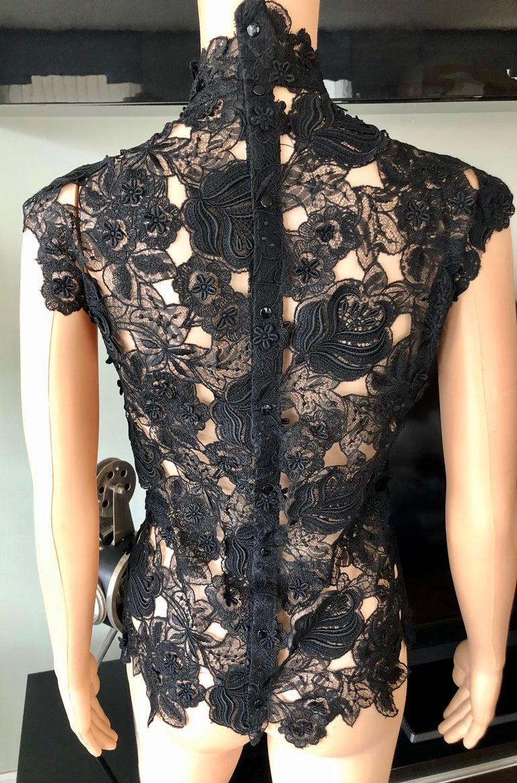 Thierry Mugler Vintage Lace Mock Neck Black Blouse Top For Sale 1