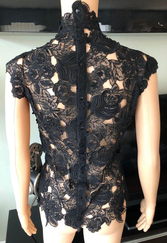 Thierry Mugler Vintage Lace Mock Neck Black Blouse Top For Sale 2