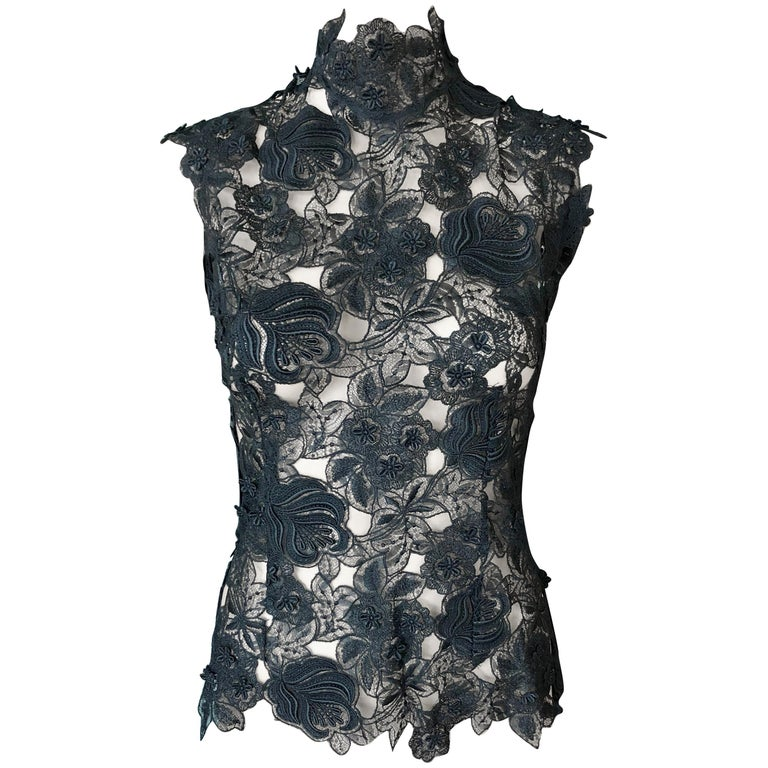 Thierry Mugler Vintage Lace Mock Neck Black Blouse Top For Sale